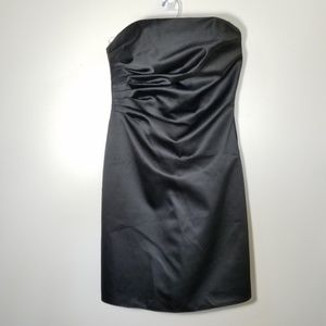 satin strapless LBD size 6 by ABS